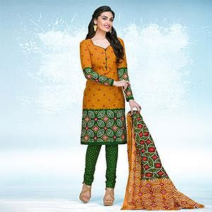 Orange - Green Casual Wear Printed Cotton Dress Material