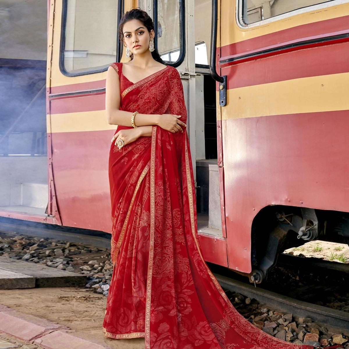 Triveni Red Colored Georgette Printed, Sirosaki Stone Work Saree With Blouse Piece