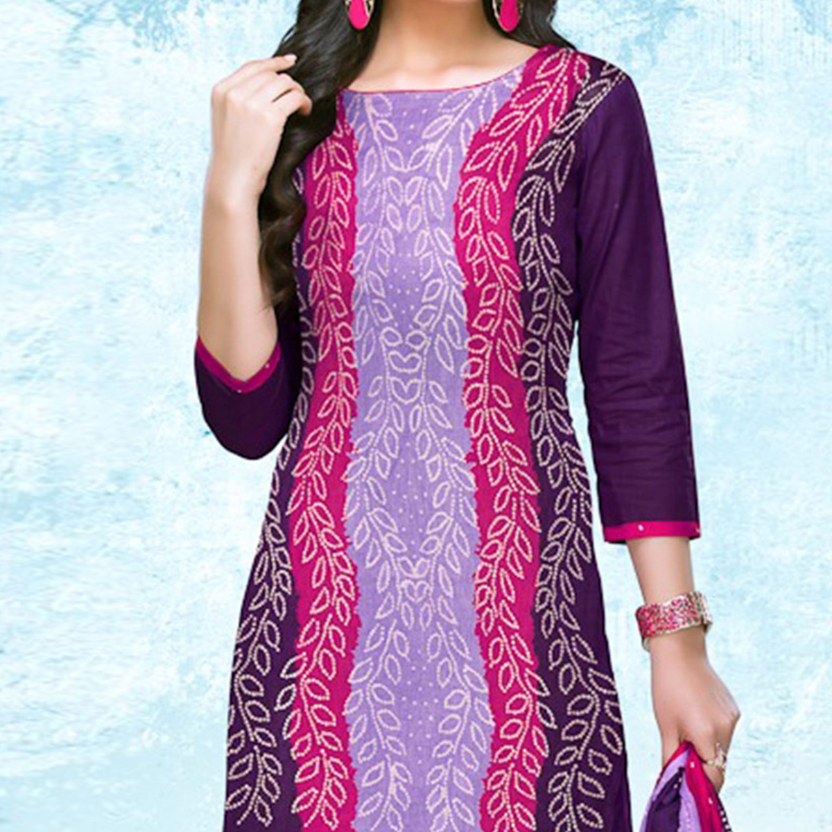 Purple - Pink Casual Wear Printed Jetpur Cotton Dress Material