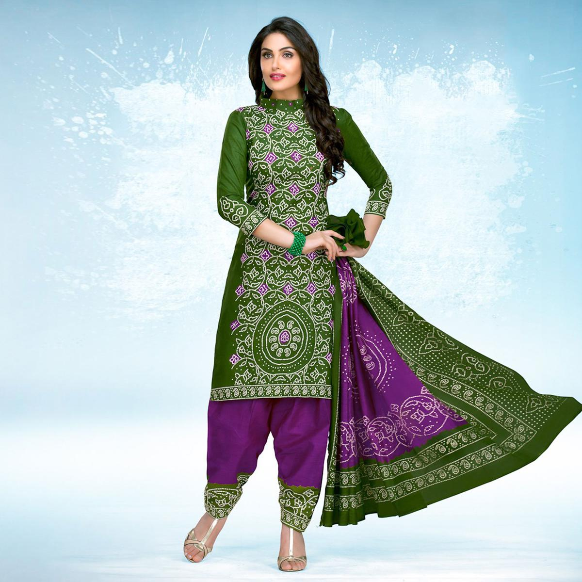 Green - Purple Casual Wear Printed Jetpur Cotton Dress Material