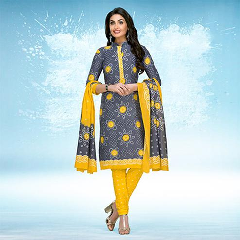 Grey - Yellow Casual Wear Printed Jetpur Cotton Dress Material
