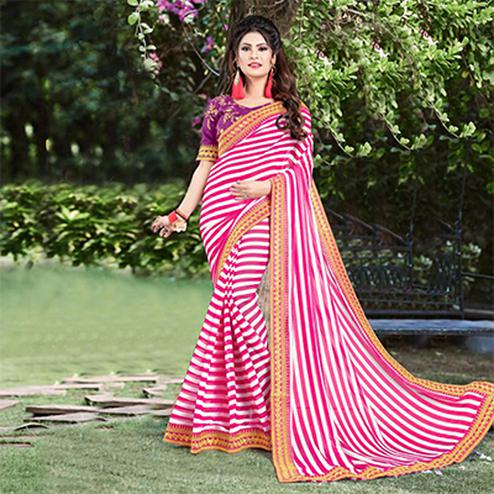 Lovely Pink Partywear Striped Print With Embroidered Lace Border Georgette Saree