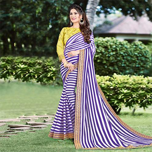 Alluring Purple Partywear Striped Print With Embroidered Lace Border Georgette Saree