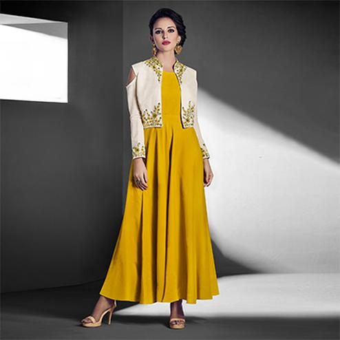 Amazing Yellow - White Designer Embroidered Jacket Style Georgette Gown
