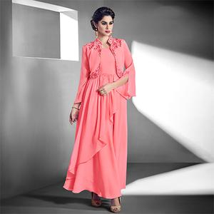 Appealing Pink Designer Embroidered Jacket Style Georgette Gown
