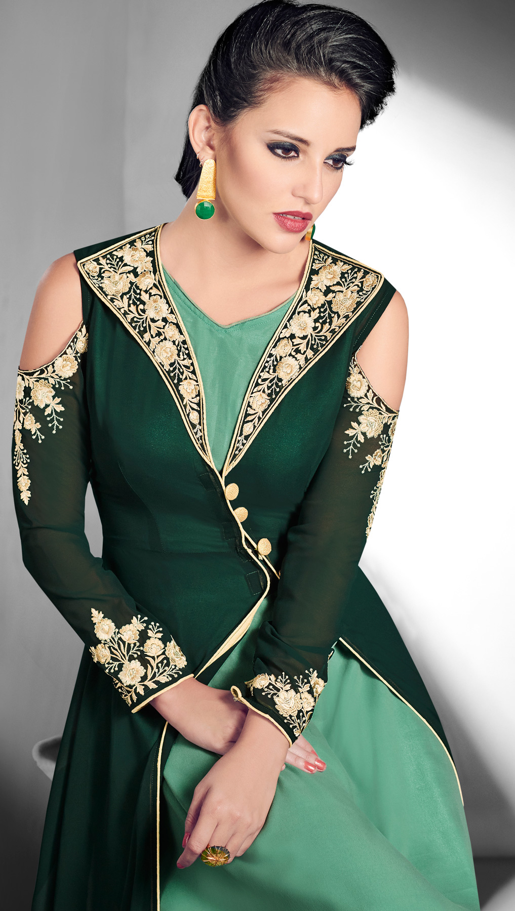 Stunning Green Designer Embroidered Jacket Style Georgette Gown