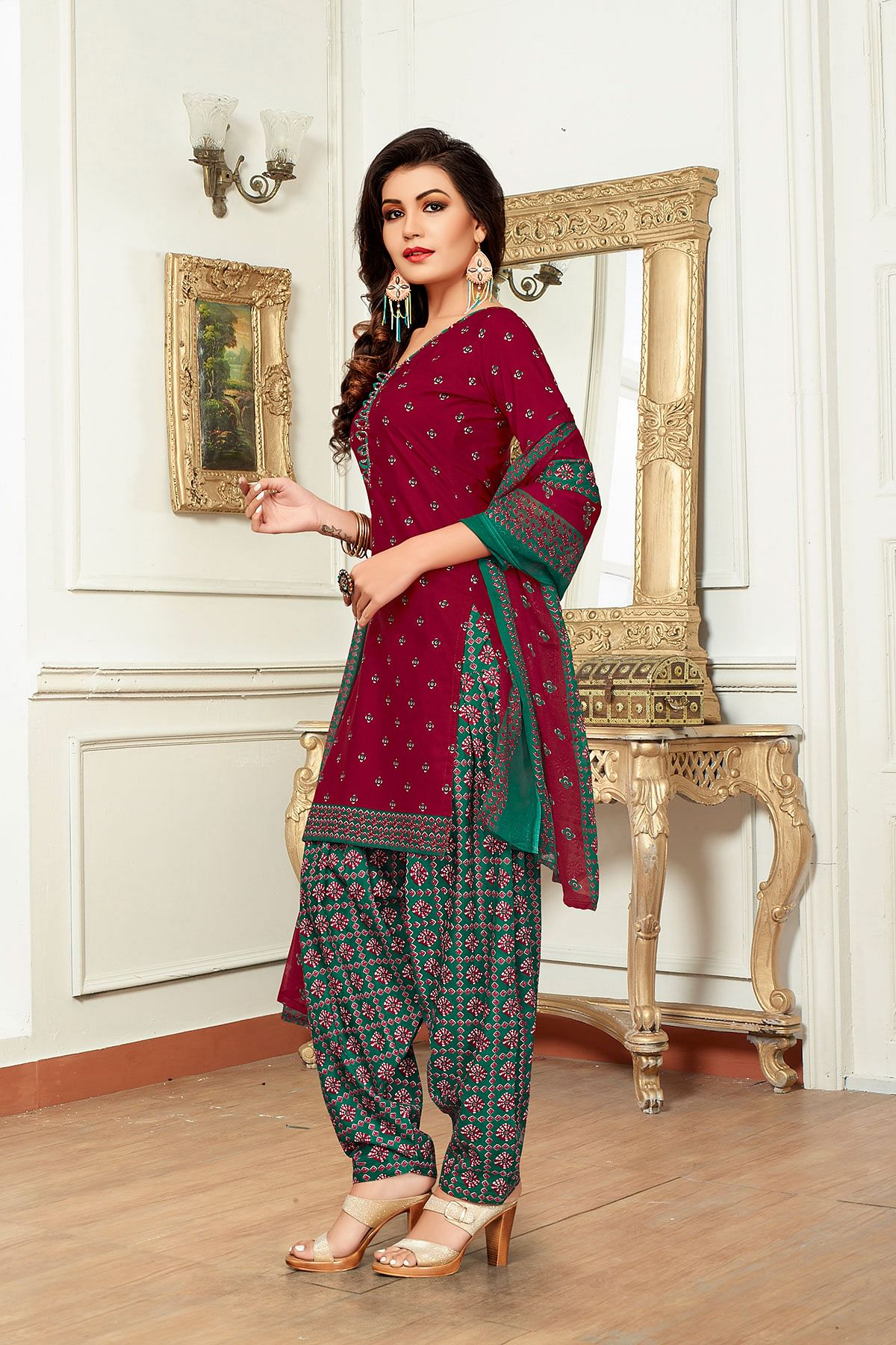 Maroon - Green Colored Casual Wear Printed Pure Cotton Dress Material