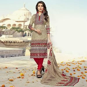 Beige - Red Colored Casual Wear Printed Pure Cotton Dress Material