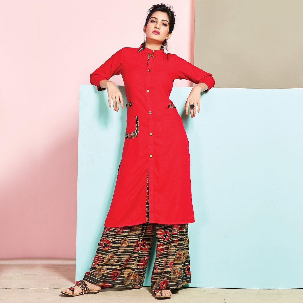 Breathtaking Red Colored Partywear Rayon Palazzo Suit