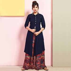 Stunning Navy Blue Colored Partywear Rayon Palazzo Suit