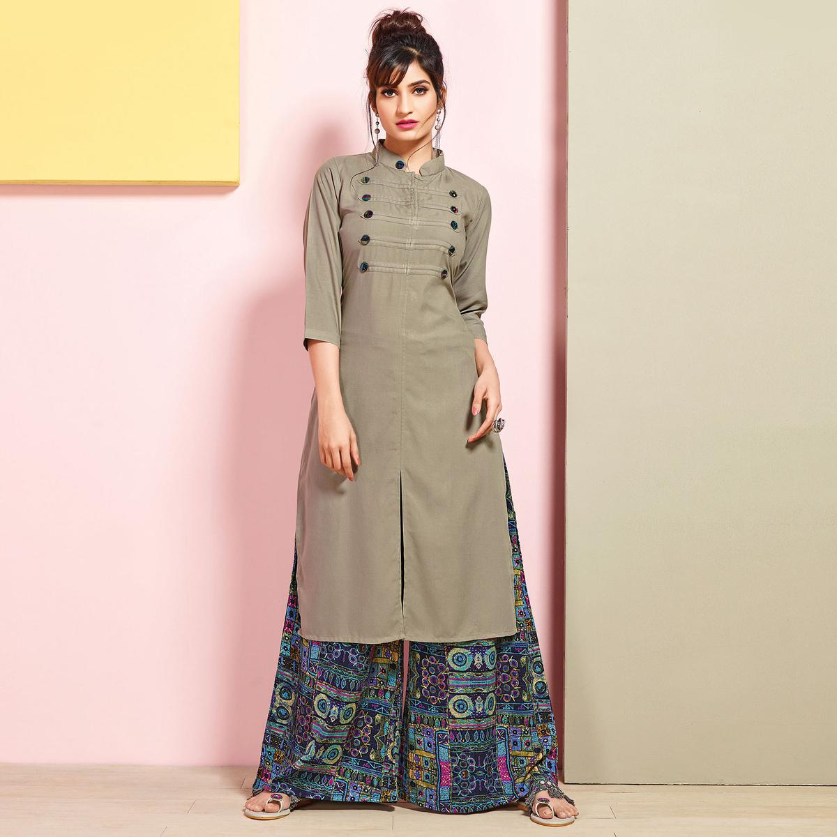 3118c1fcc628 Buy Appealing Gray Colored Partywear Rayon Palazzo Suit for womens online  India