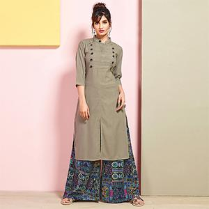 Appealing Gray Colored Partywear Rayon Palazzo Suit