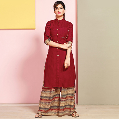Mesmerising Maroon Colored Partywear Rayon Palazzo Suit