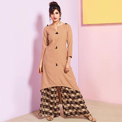 Classy Beige Colored Partywear Rayon Palazzo Suit