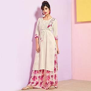 Elegant White Colored Partywear Rayon Palazzo Suit