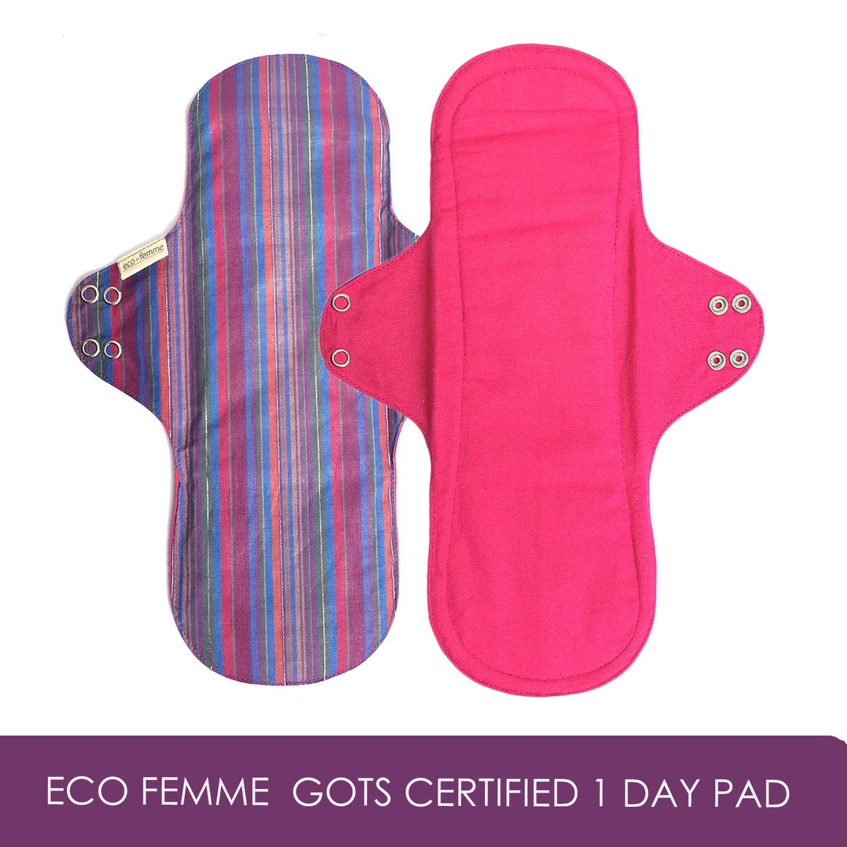 GOLI SODA - Eco Femme  GOTS Certified 1 Day Pad - Natural Organic - Reusable Sanitary Pads / Cloth Menstrual Pads / Washable Cloth Pads