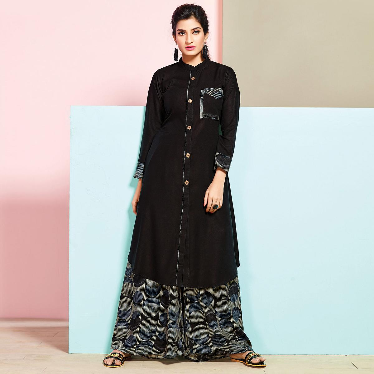 d80a76046daf Buy Stunning Black Colored Partywear Rayon Palazzo Suit for womens online  India