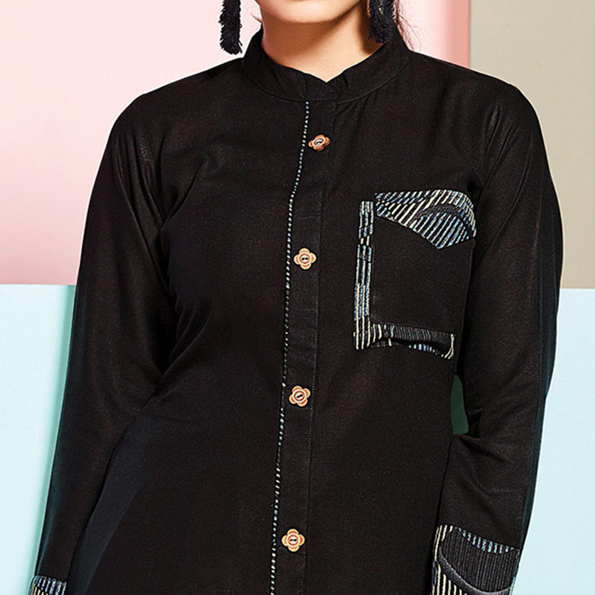 Stunning Black Colored Partywear Rayon Palazzo Suit