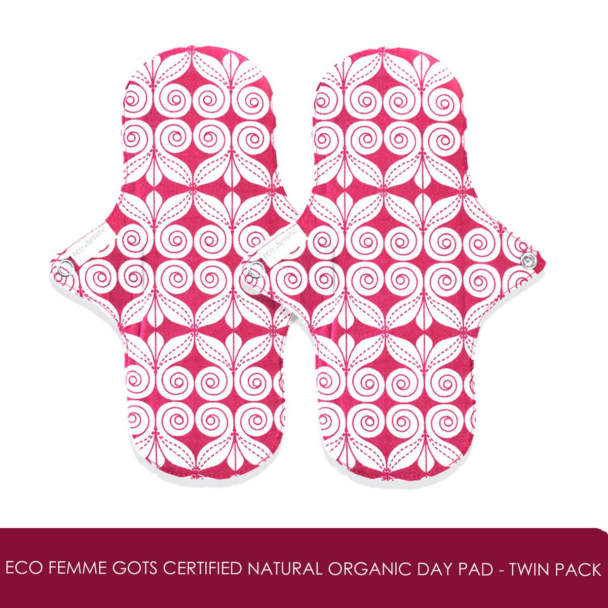 GOLI SODA - Eco Femme GOTS Certified Natural Organic Day Pad - Twin Pack