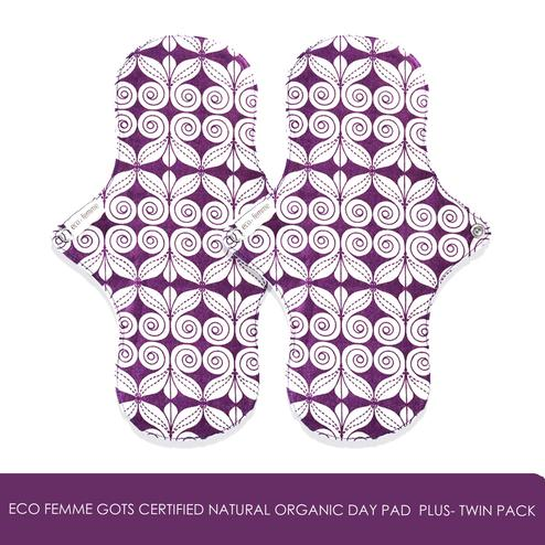 GOLI SODA - Eco Femme GOTS Certified Natural Organic Day Pad  Plus- Twin Pack