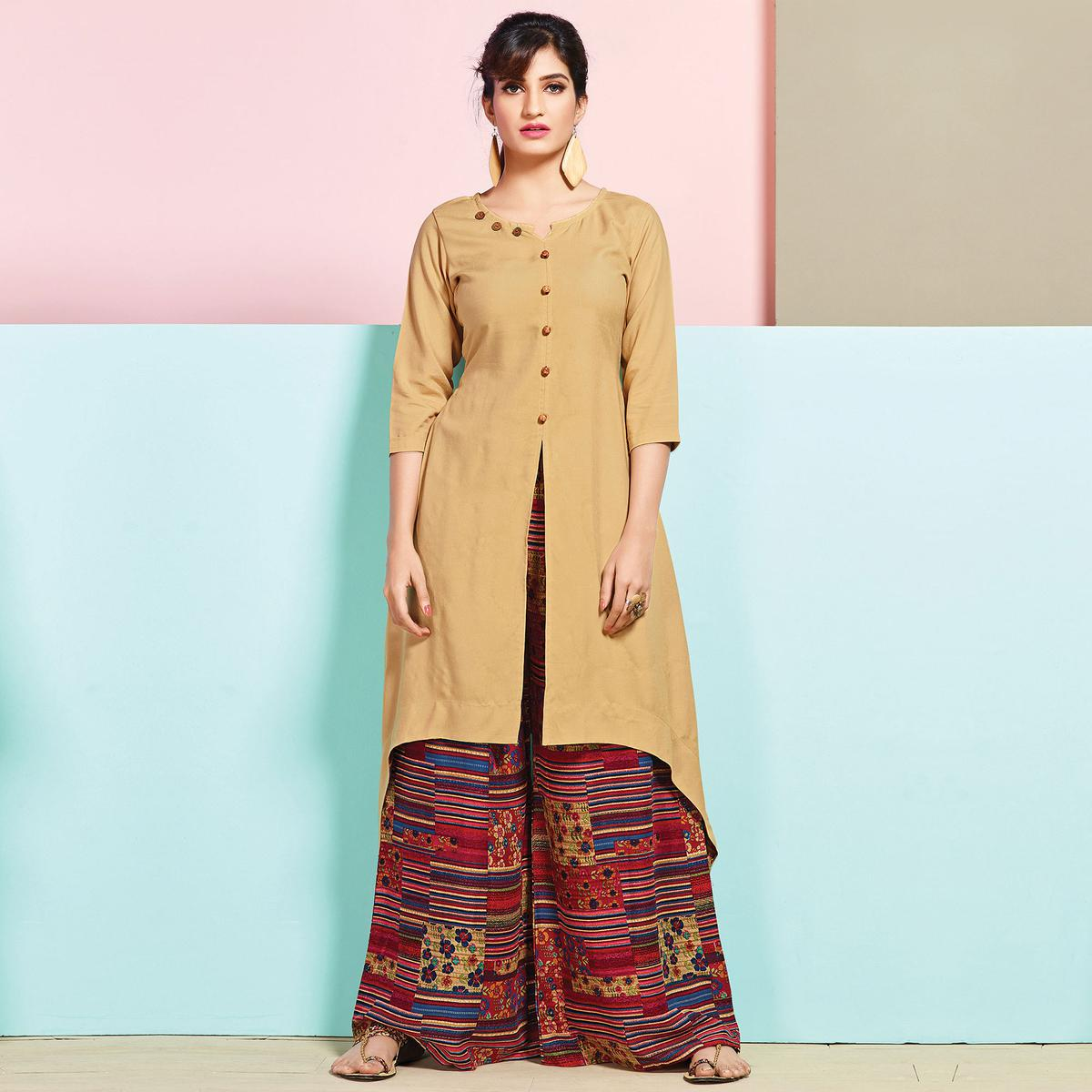 Beautiful Beige Colored Partywear Rayon Palazzo Suit