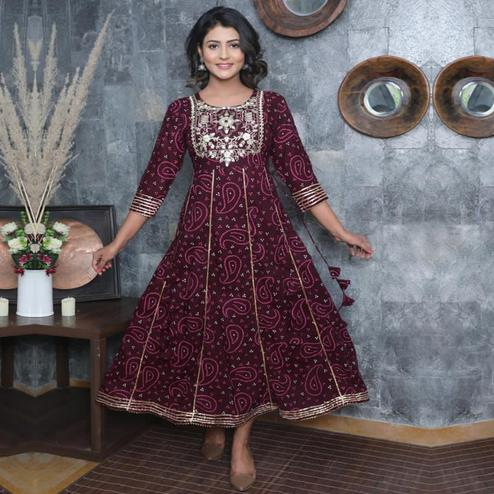SHIVOM CREATION - Fabulous Design Red Colored Rayon Gown