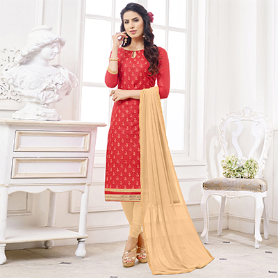 Stunning Red Colored Casual Wear Printed Cotton Dress Material
