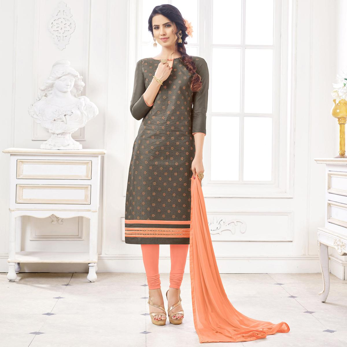 Beautiful Brown Colored Casual Wear Printed Cotton Dress Material
