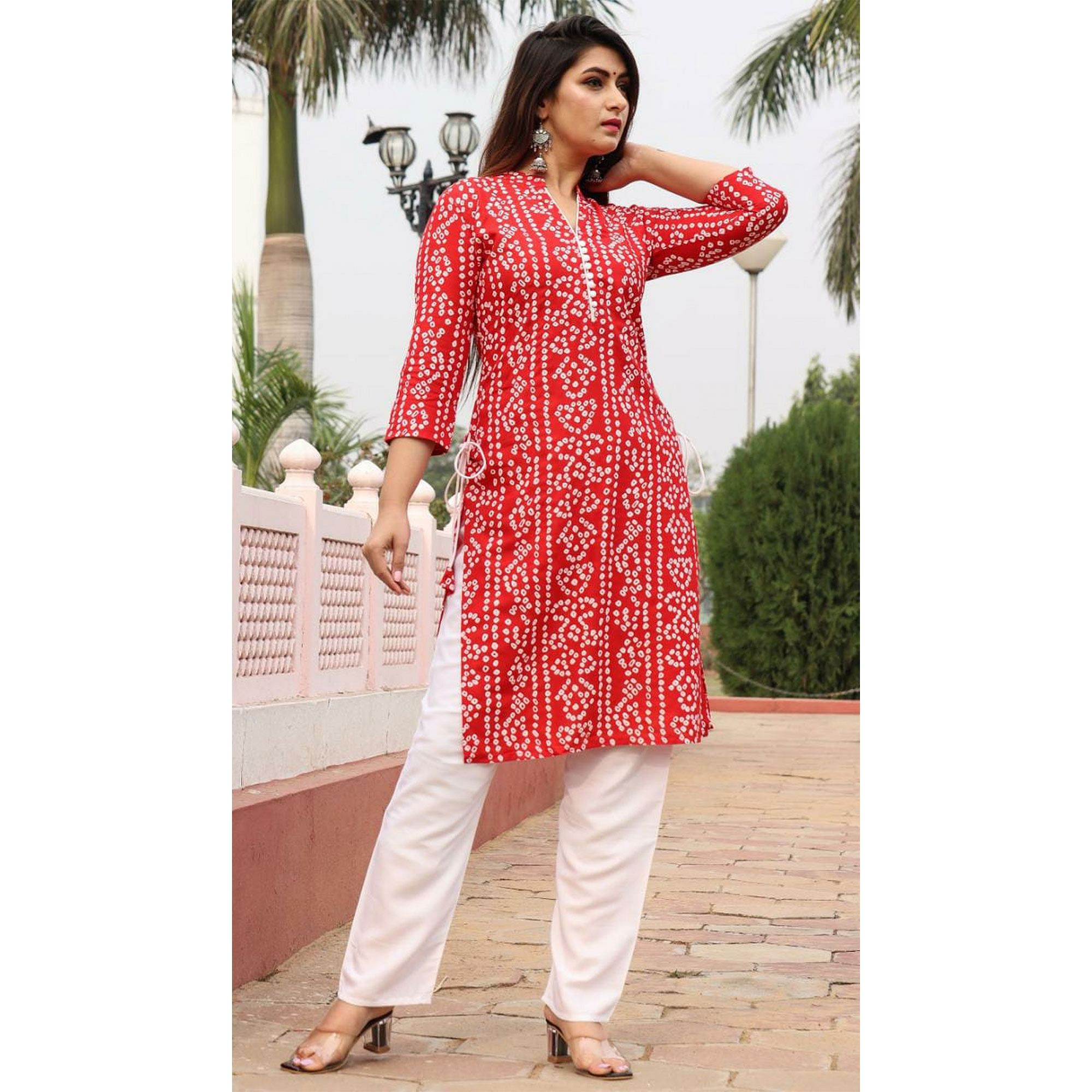 SHIVOM CREATION - Fabulous Design Red Colored Rayon Kurti Pant