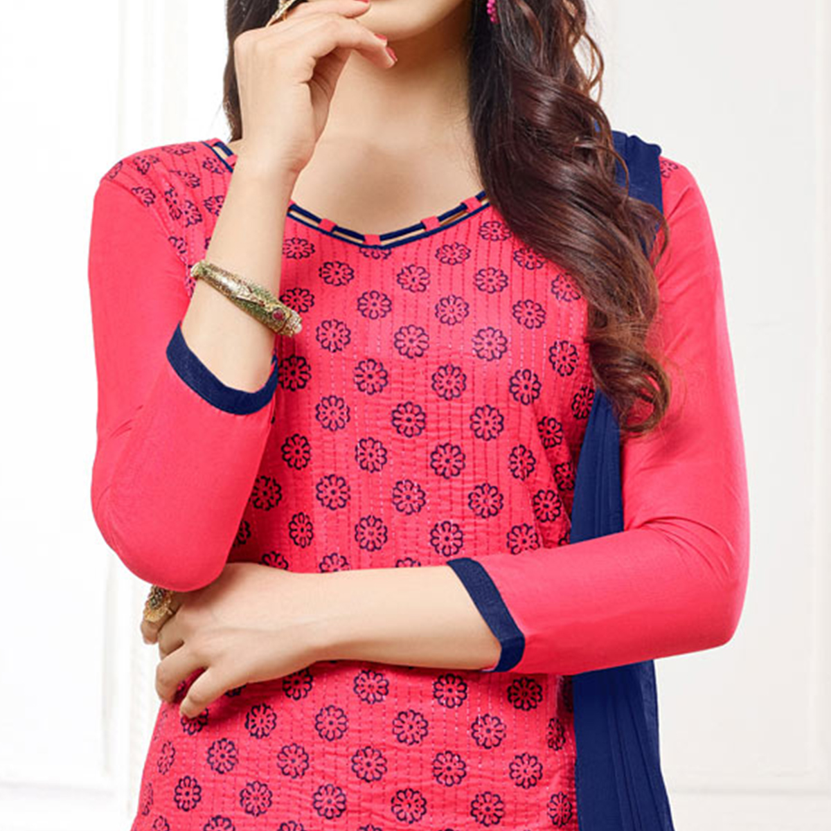 Attractive Pink Colored Casual Wear Printed Cotton Dress Material