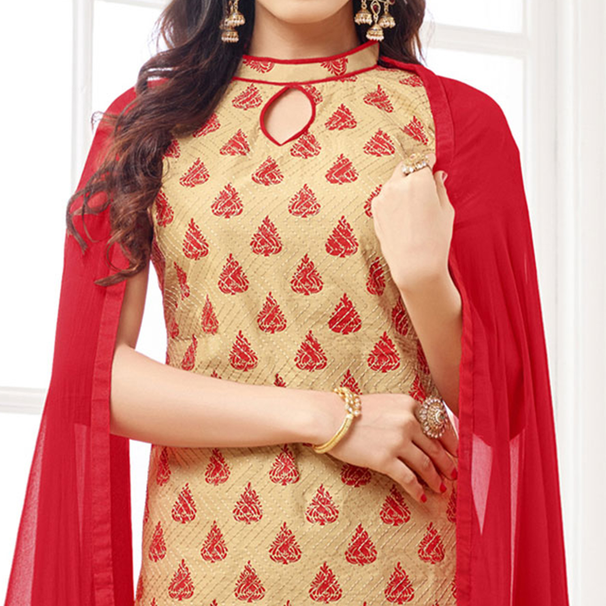 Classy Beige Colored Casual Wear Printed Cotton Dress Material