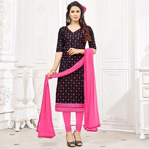 Stunning Black Colored Casual Wear Printed Cotton Dress Material