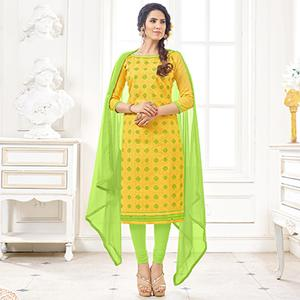 Graceful Yellow Colored Casual Wear Printed Cotton Dress Material