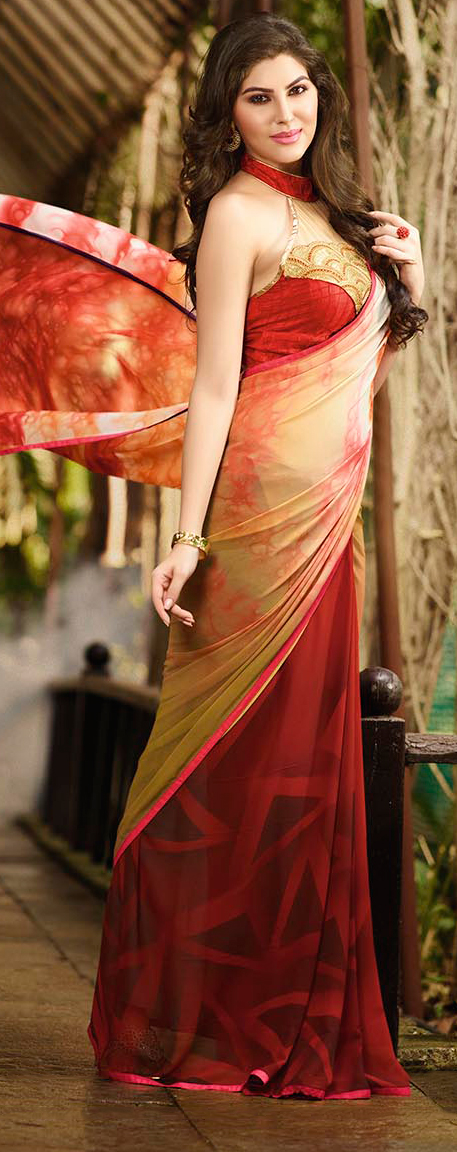 Beige - Red Casual Wear Printed Saree