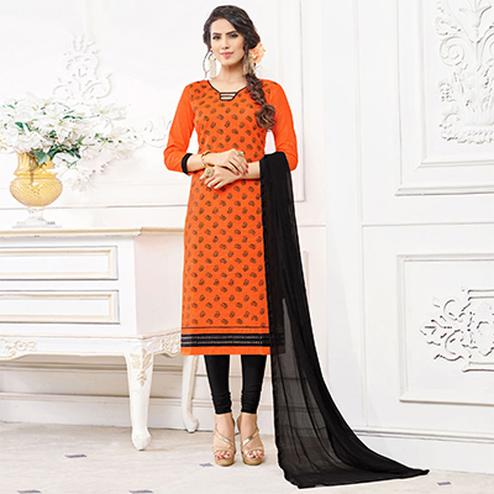 Sizzling Orange Colored Casual Wear Printed Cotton Dress Material