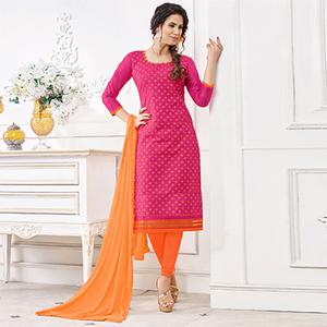 Hot Pink Colored Casual Wear Printed Cotton Dress Material