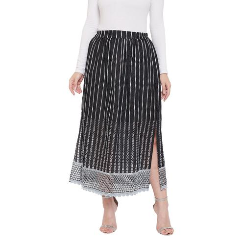 Ruhaan's - Womens Cotton Full Embroidered With Cotton Lining Black Skirt
