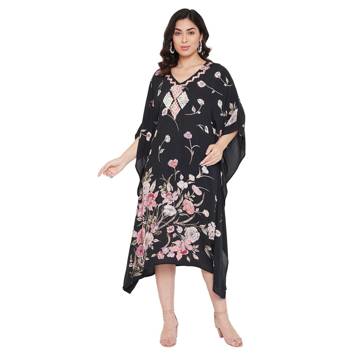 Ruhaan's - Womens Rayon Crepe Mirror Work Embroidered Black and Pink Kaftan Top