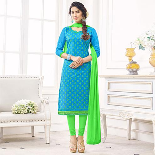 Gorgeous Blue Colored Casual Wear Printed Cotton Dress Material