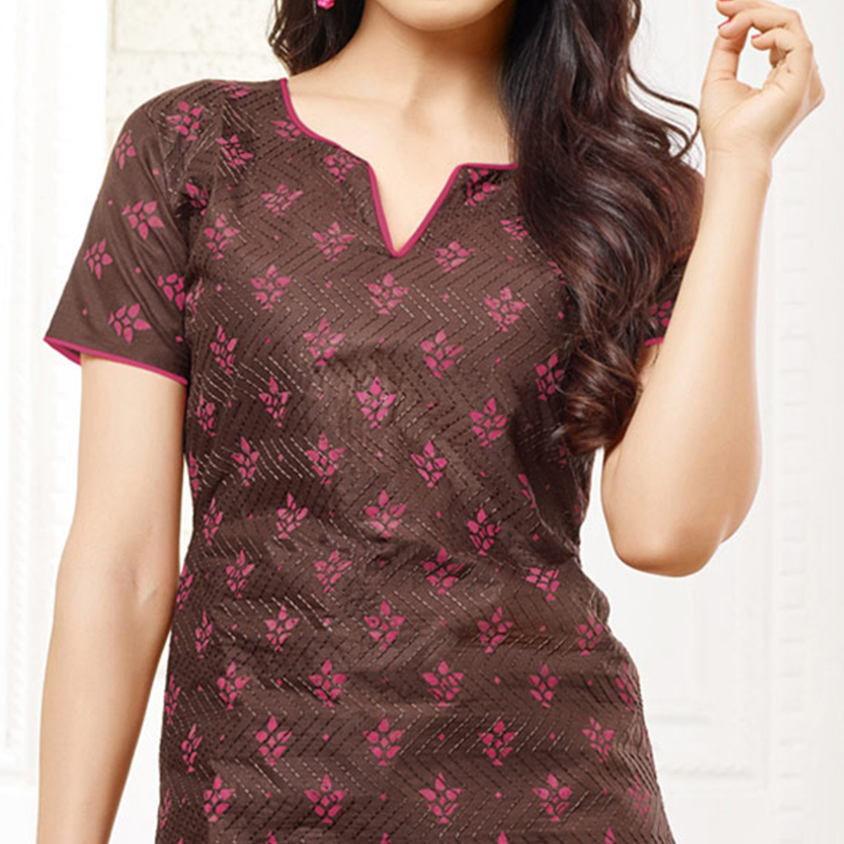 Stylish Brown Colored Casual Wear Printed Cotton Dress Material