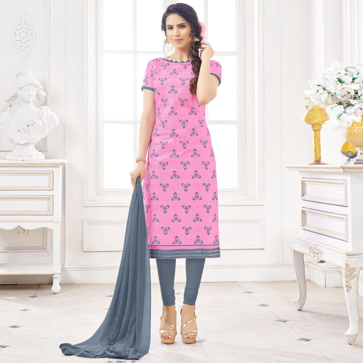 Soulful Pink Colored Casual Wear Printed Cotton Dress Material
