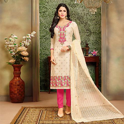 Graceful Beige-Pink Designer Embroidered Modal Art Silk Dress Material