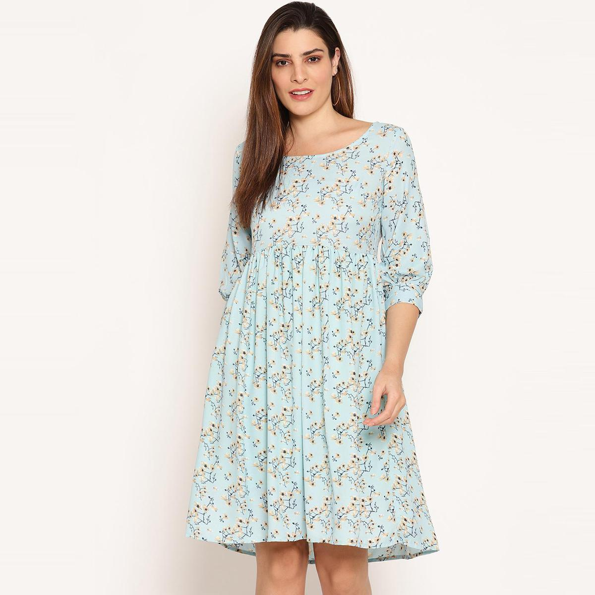 Ruhaan's - Womens Summercool Floral With Cotton Lining Blue Dress