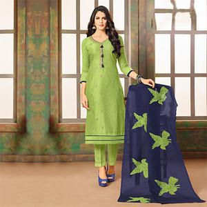 Sizzling Green Designer Embroidered Modal Art Silk Dress Material