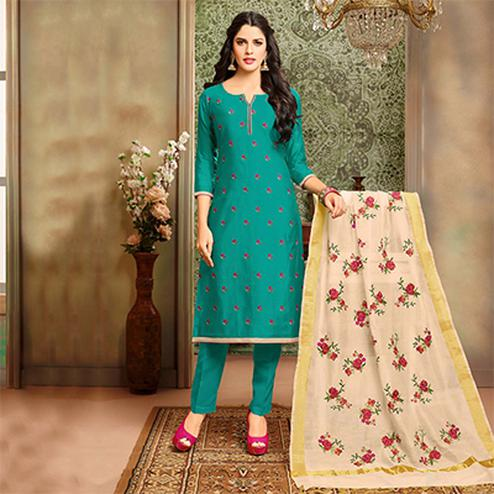 Delightful Dark Green Designer Embroidered Modal Art Silk Dress Material