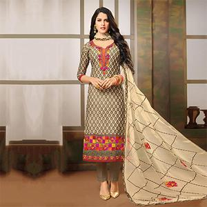 Elegant Beige-Brown Designer Embroidered Modal Art Silk Dress Material