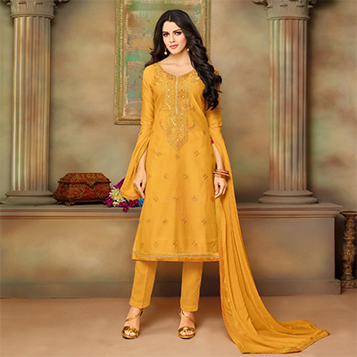 Attractive Yellow Designer Embroidered Modal Art Silk Dress Material