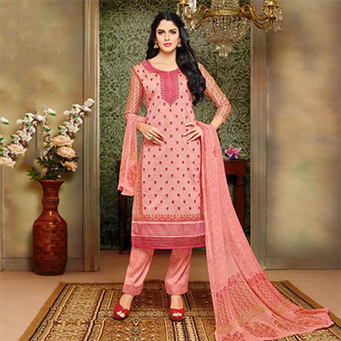 Classy Light Pink Designer Embroidered Modal Art Silk Dress Material