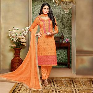 Gorgeous Orange Designer Embroidered Modal Art Silk Dress Material