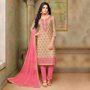Stylish Beige-Pink Designer Embroidered Modal Art Silk Dress Material